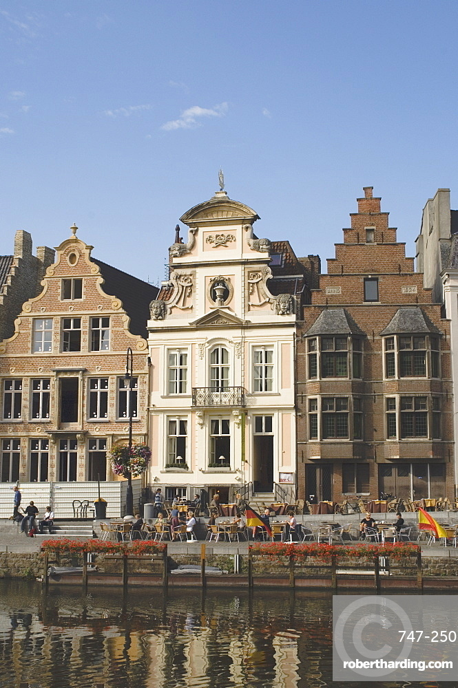 Traditional gabled houses by the river, Ghent, Belgium, Europe