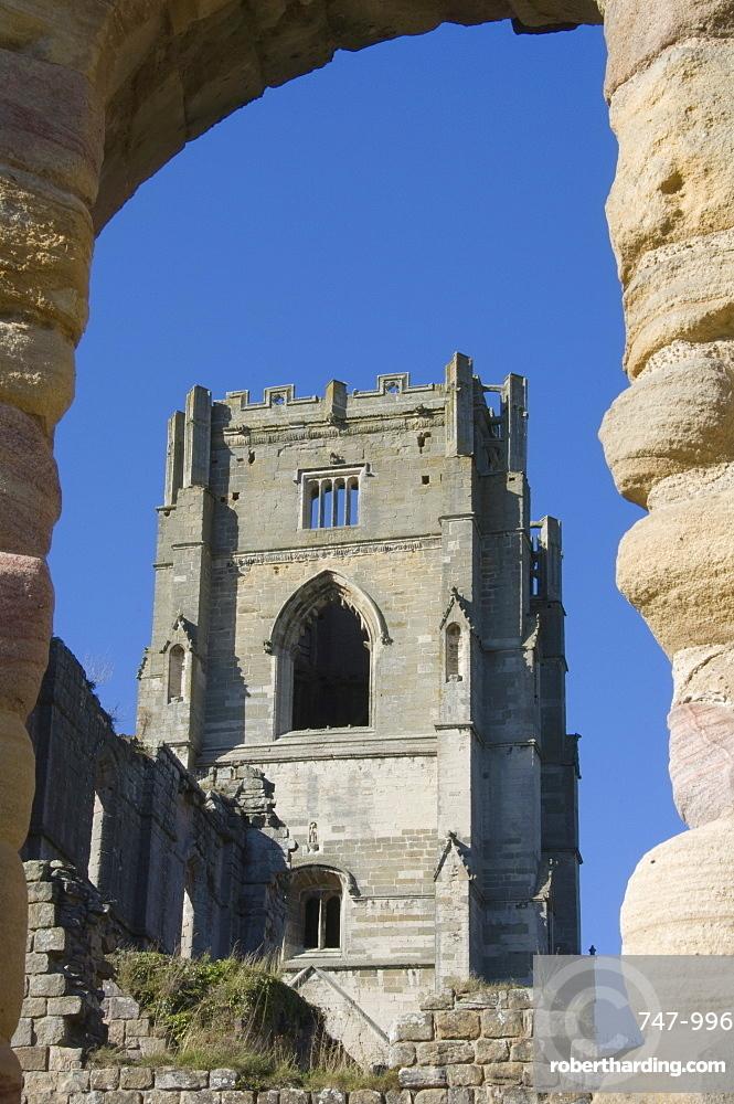 Interior, Fountains Abbey, UNESCO World Heritage Site, near Ripon, North Yorkshire, England, United Kingdom, Europe