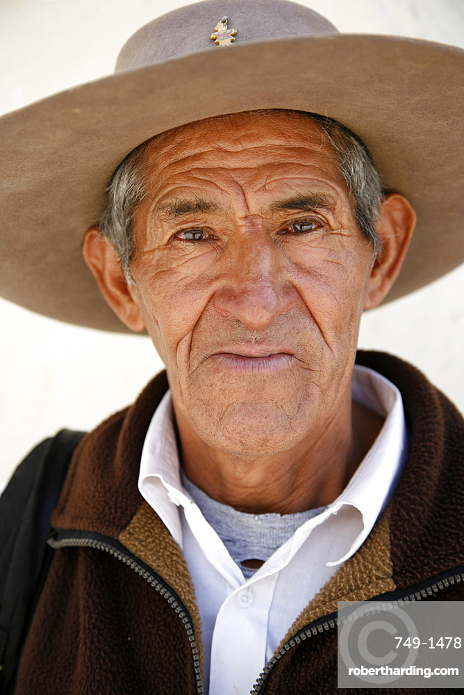Portrait of a Quechua man in Cachi, Salta Province, Argentina, South America