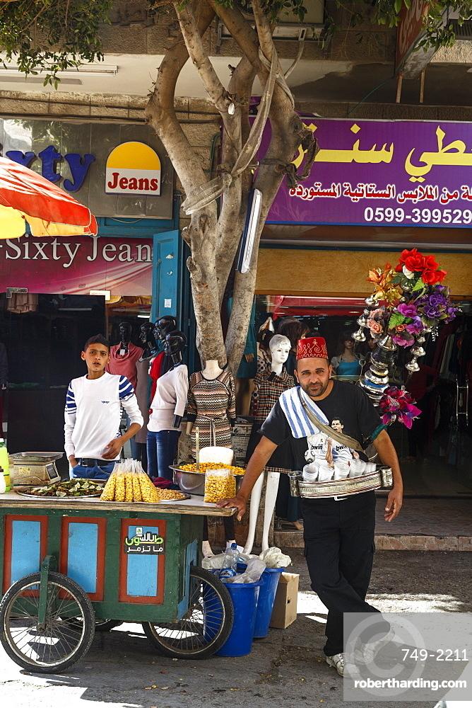 Traditional water seller in Bethlehem, West Bank, Palestine territories, Israel, Middle East