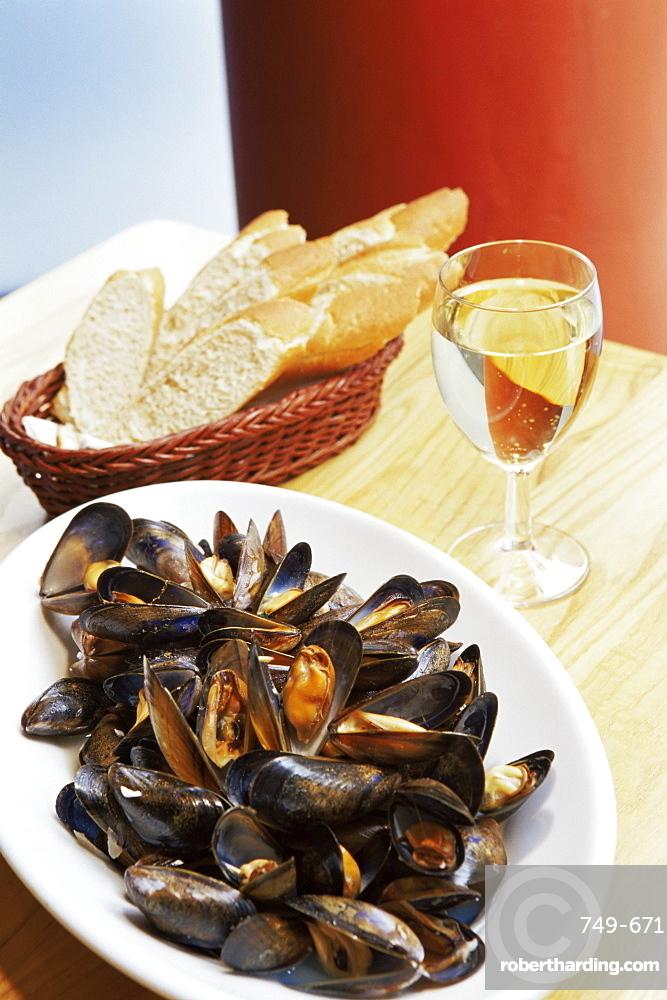 A plate of mussels, Glasgow, Scotland, United Kingdom, Europe