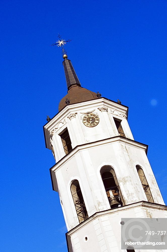 Clock tower by the cathedral, Vilnius, Lithuania, Baltic States, Europe