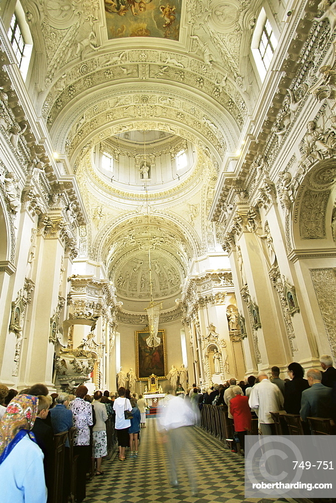 Baroque style interior, St. Peter and Paul church, Vilnius, Lithuania, Baltic States, Europe