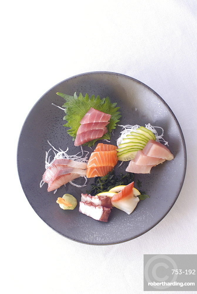 Plate of raw fish, Japan, Asia