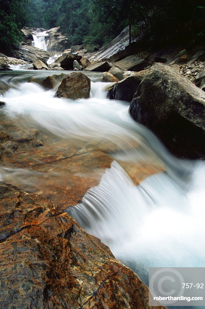 Rocks in fast flowing stream, Bach Ma National Park, Vietnam, Indochina, Southeast Asia, Asia