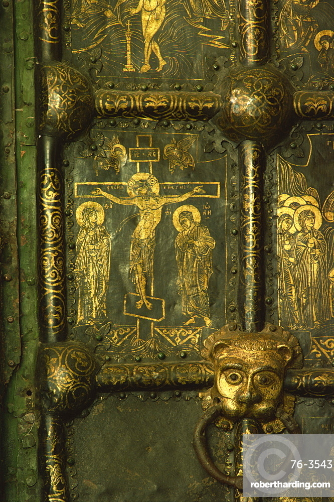 Detail of Crucifixion on the Nativity Door, Suzdal Cathedral, Russia, Europe