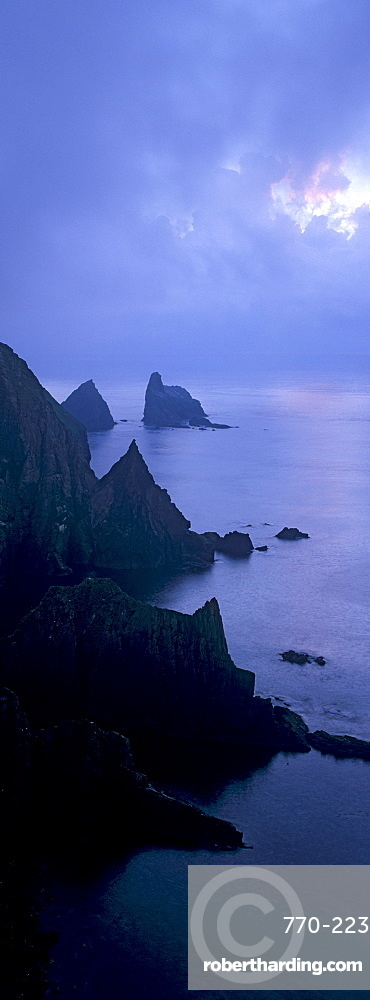 North cliffs and stack of Skroo in the mist, Fair Isle, Shetland Islands, Scotland, United Kingdom, Europe