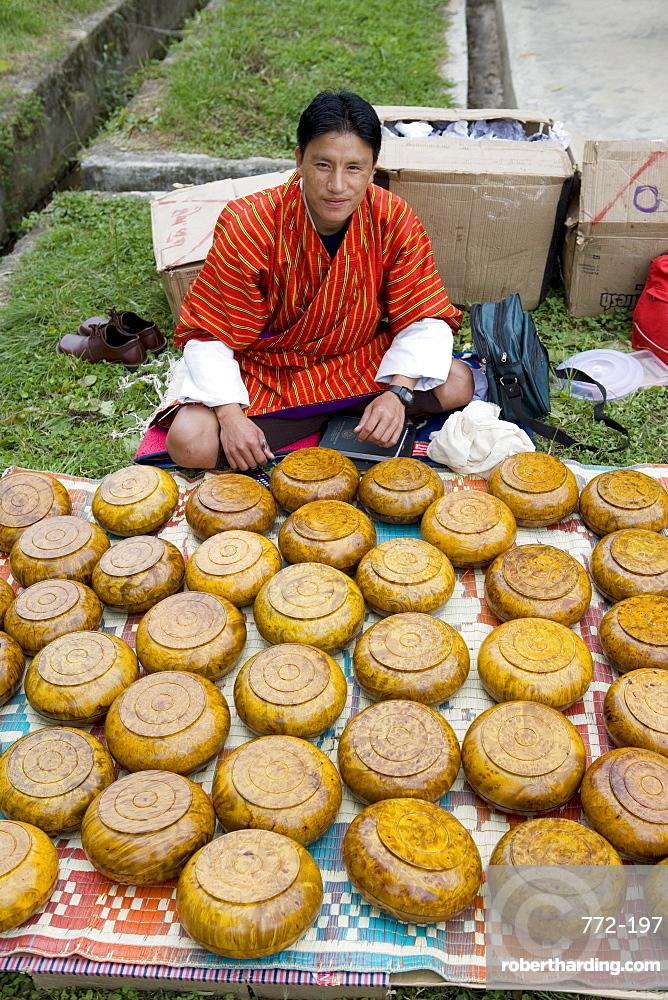 Market during Buddhist festival (Tsechu), Thimphu, Bhutan, Asia