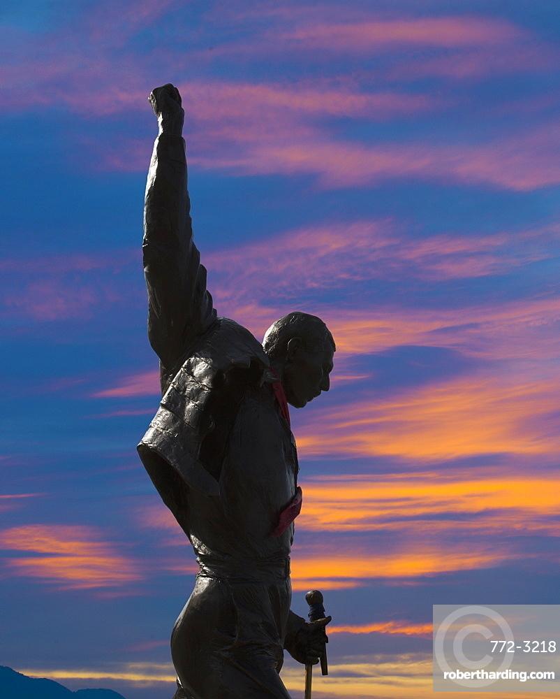 Statue of Freddy Mercury, Montreux, Canton Vaud, Switzerland, Europe