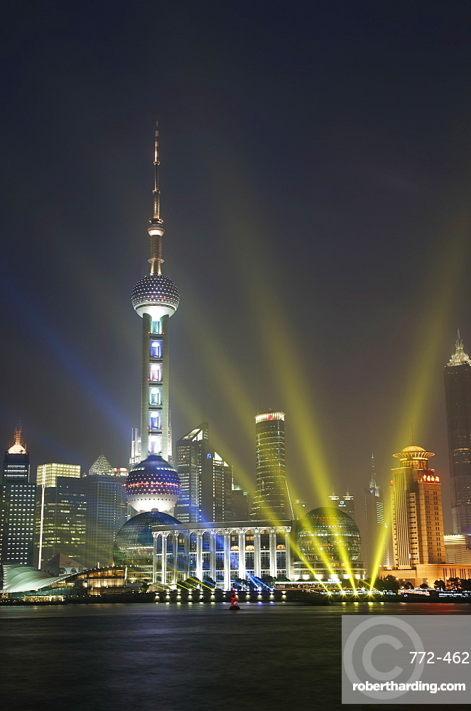 The Oriental Pearl Tower in the Pudong District at night, Shanghai, China, Asia