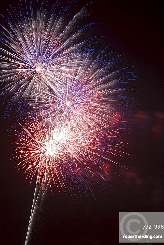 Fireworks celebrating the 4th of July, Miami, Florida, United States of America, North America