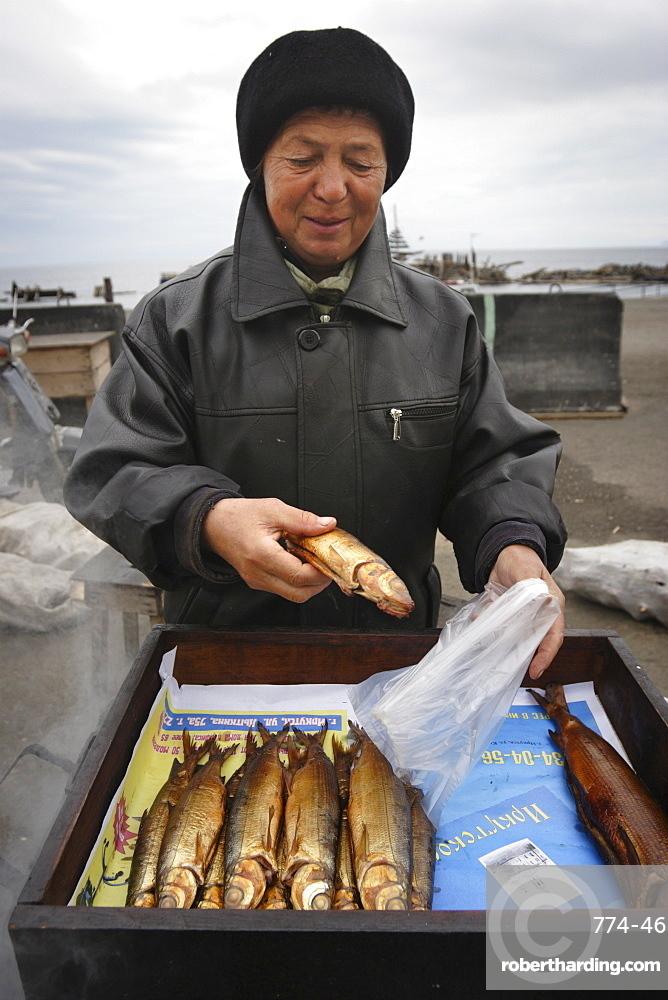 Smoking Omul by Lake Baikal, Listvyanka, Siberia, Russia, Europe
