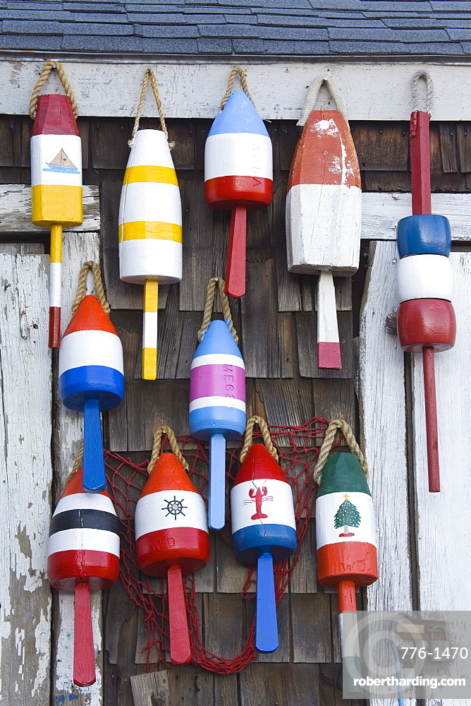 Fishing buoys in Rockport, Cape Ann, Greater Boston Area, Massachusetts, New England, United States of America, North America