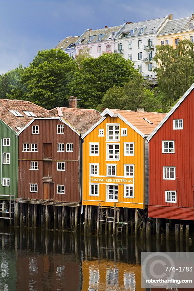 Warehouses on Bryggen waterfront in Old Town District, Trondheim, Nord-Trondelag Region, Norway, Scandinavia, Europe