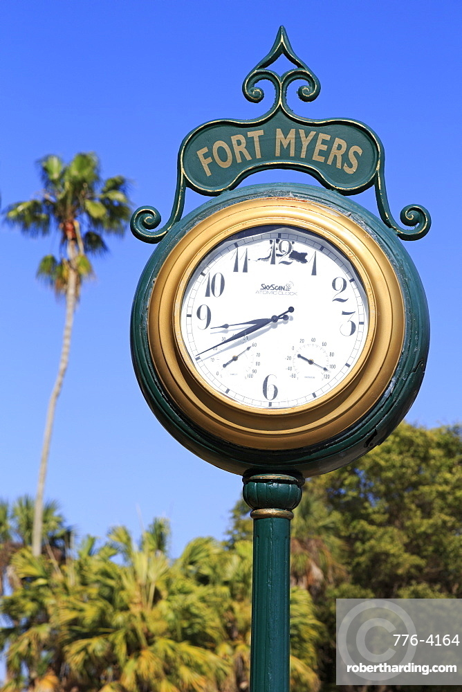 Clock in the Waterfront District, Fort Myers, Florida, United States of America, North America