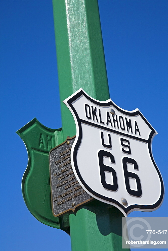 Route 66 sign, Chandler City, Oklahoma, United States of America, North America