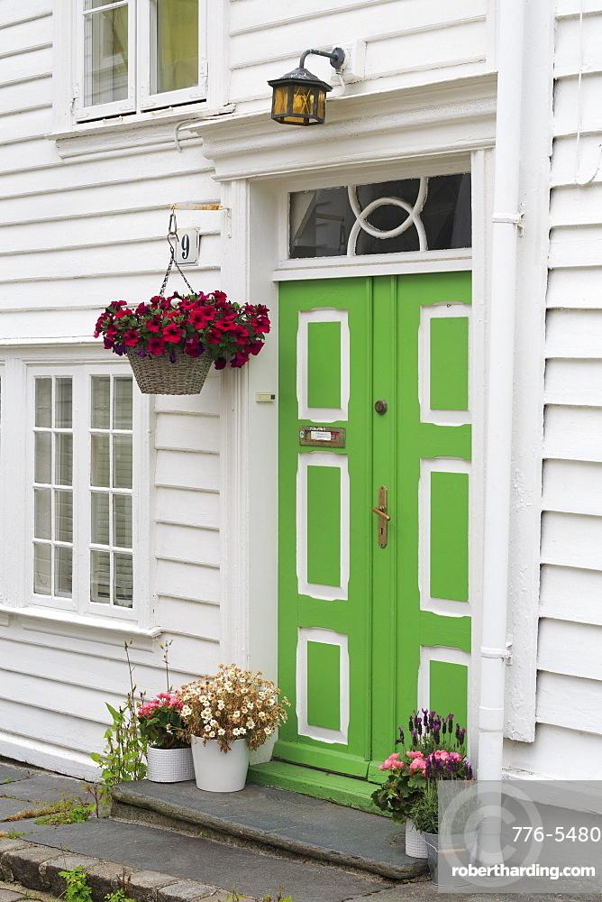Door, Gamle (Old Town) District, Stavanger City, Rogaland County, Norway, Scandinavia, Europe