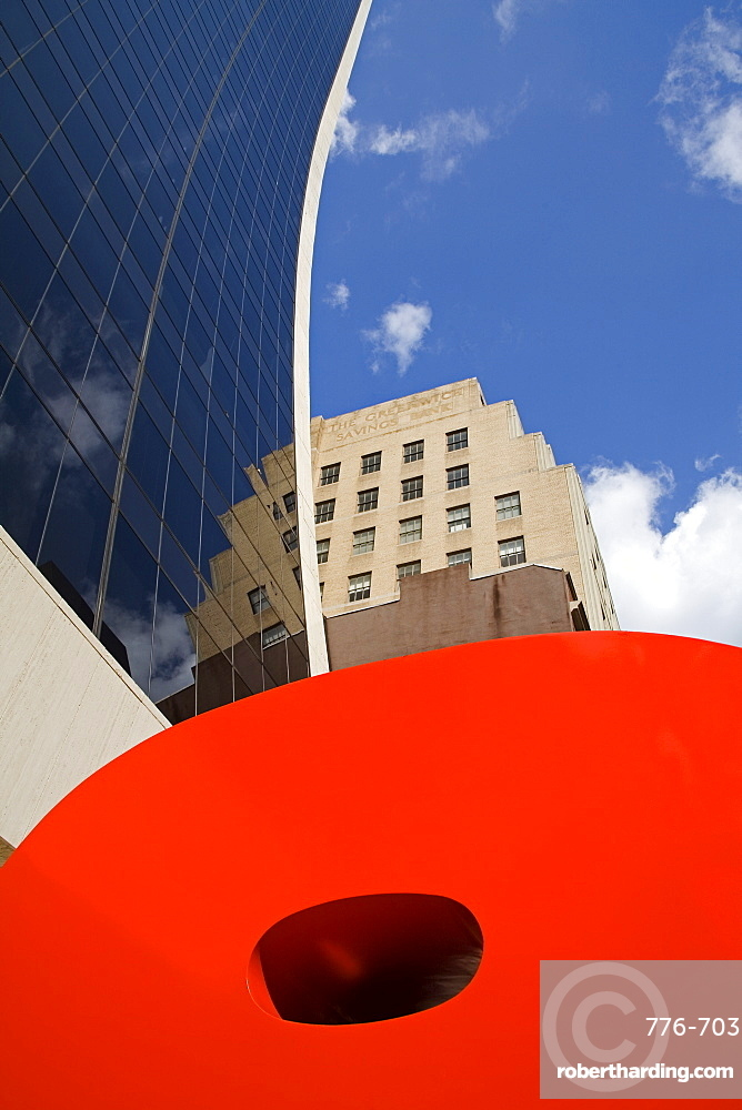 Ivan Chermayeff's Red 9 sculpture, Nine West 57th Street, Midtown Manhattan, New York City, New York, United States of America, North America