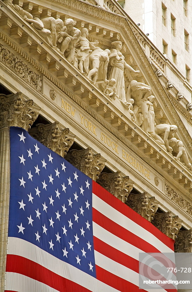 Stock Exchange on Wall Street, Lower Manhattan, New York City, New York, United States of America, North America