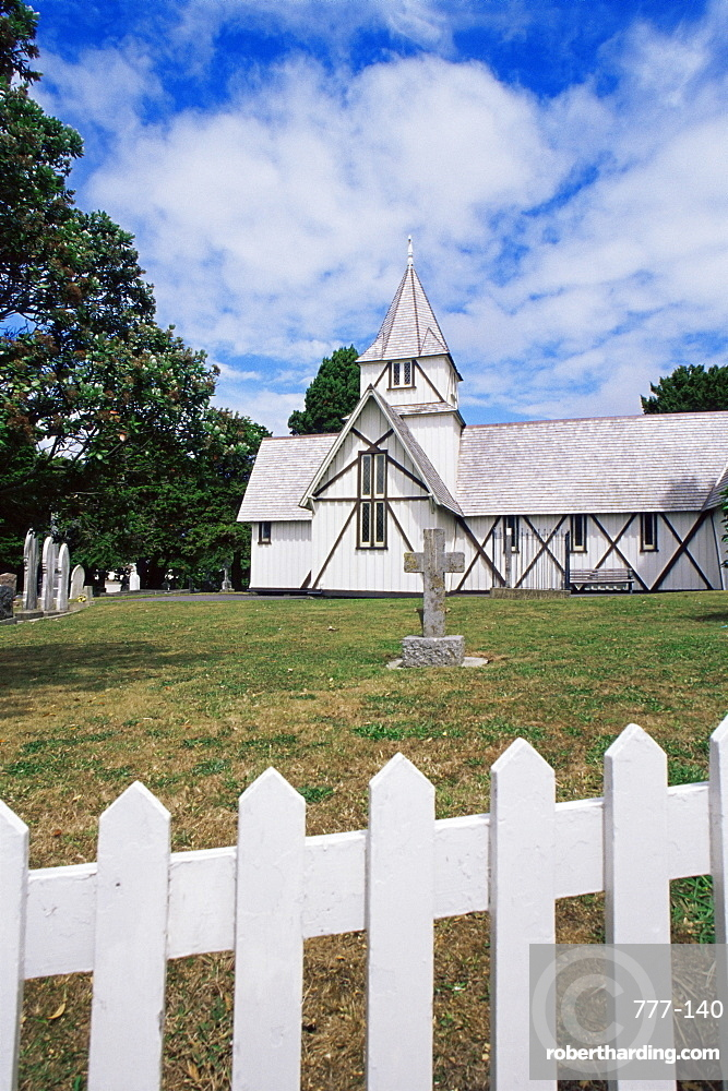 All Saints church dating from 1847, Howick historical village, Auckland, North Island, New Zealand, Pacific