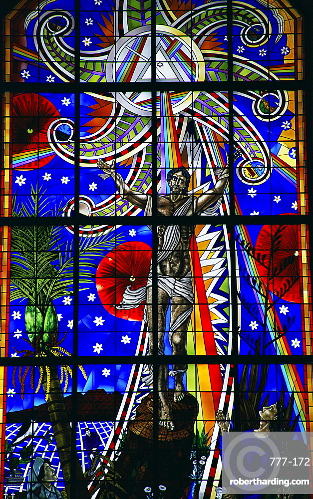 Great window, Cathedral of the Holy Trinity, Auckland, North Island, New Zealand, Pacific