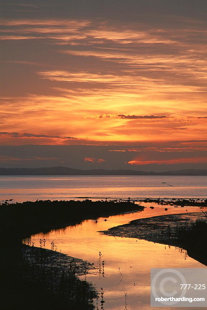 Sunset, Firth of Thames, Coromandel Peninsula, North Island, New Zealand, Pacific