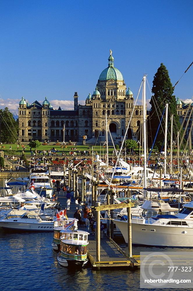 Parliament Buildings and harbour, Victoria, British Columbia, Canada, North America
