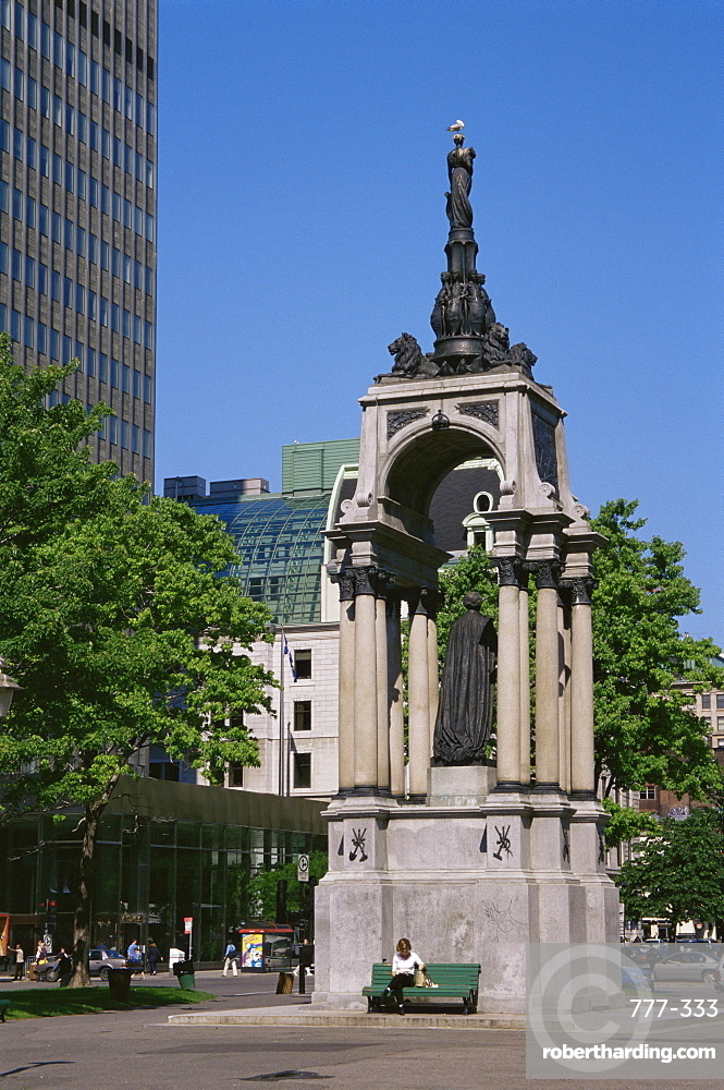 Sir John Alexander Macdonald monument, Place du Canada, Montreal City, Quebec state, Canada, North America