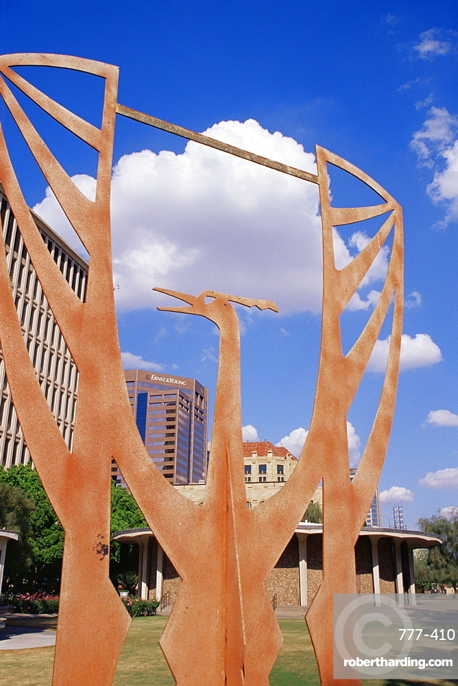 Sculpture of phoenix, Calvin C. Goode Municipal Building, Phoenix, Arizona, United States of America, North America