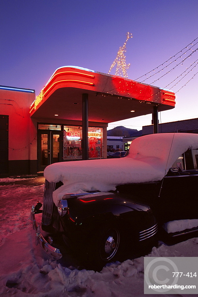 Vintage car outside diner, Route 66, Williams, Arizona, United States of America, North America