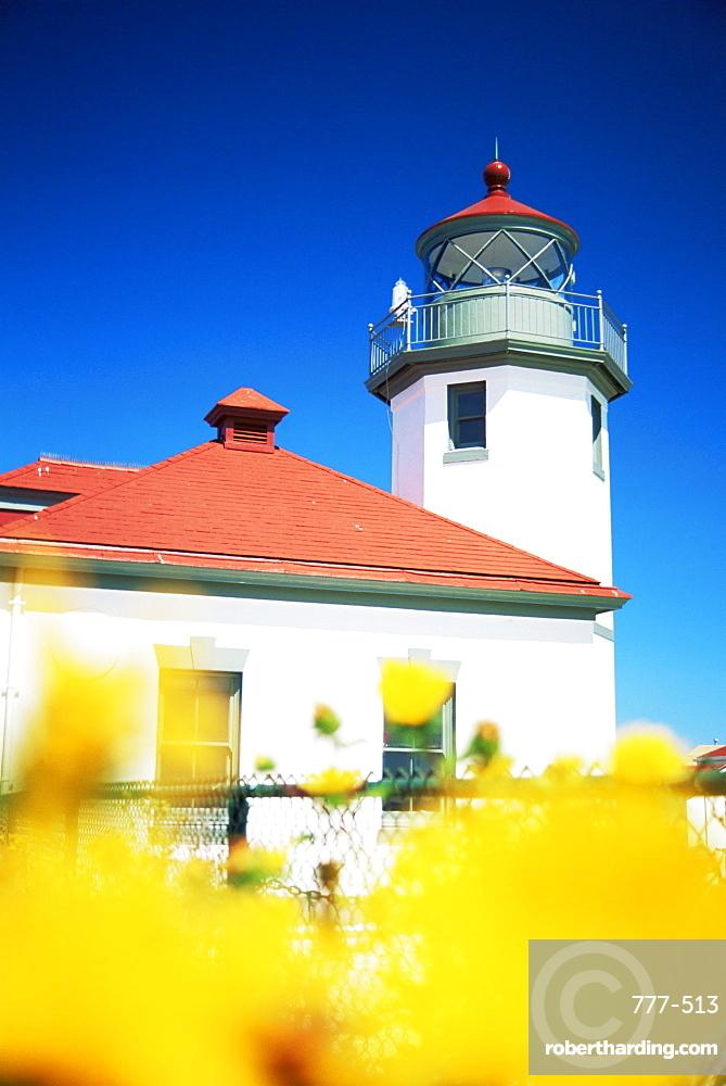 Alki Point Lighthouse, Puget Sound, Seattle, Washington state, United States of America, North America