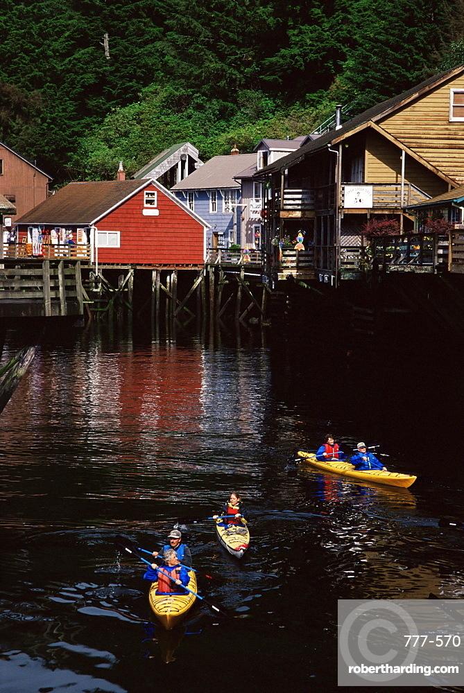 Kayaking, Creek Street, Ketchikan, Alaska, United States of America, North America