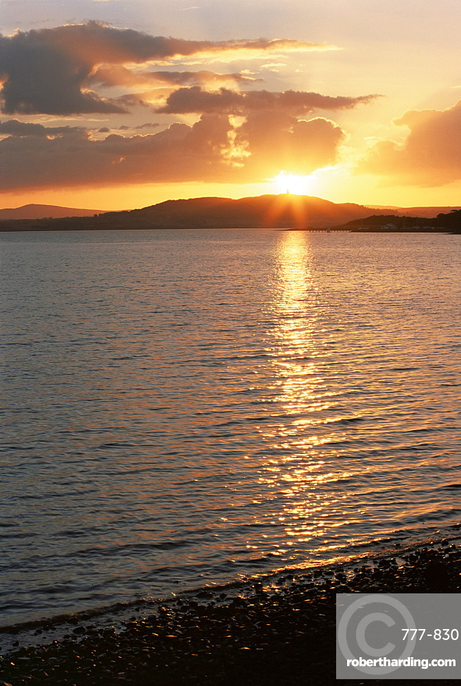 Sunset over Scrabo Tower, Strangford Lough, County Down, Ulster, Northern Ireland, United Kingdom, Europe