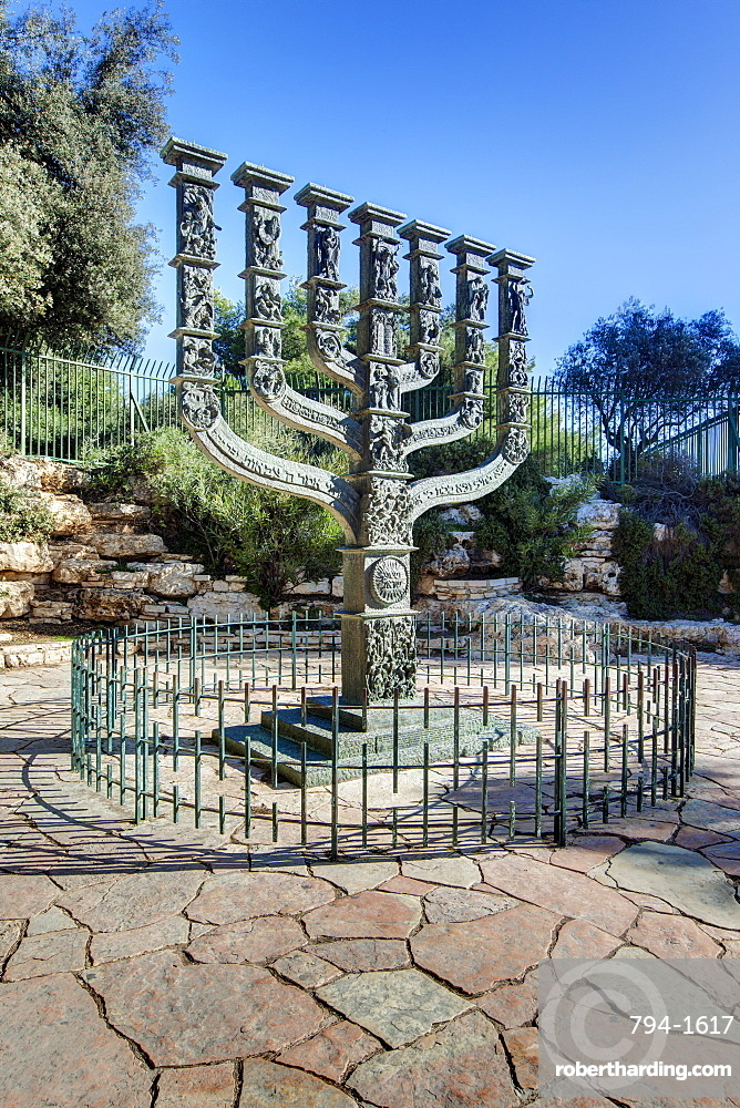 The Menorah sculpture by Benno Elkan at the entrance to the Knesset, the Israeli Parliament, Jerusalem, Israel, Middle East