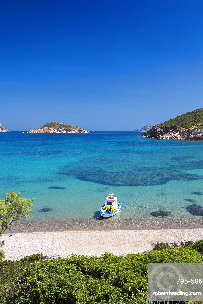Fishing boat moored on the beach, Patmos Island, Dodecandese, Greek Islands, Greece, Europe