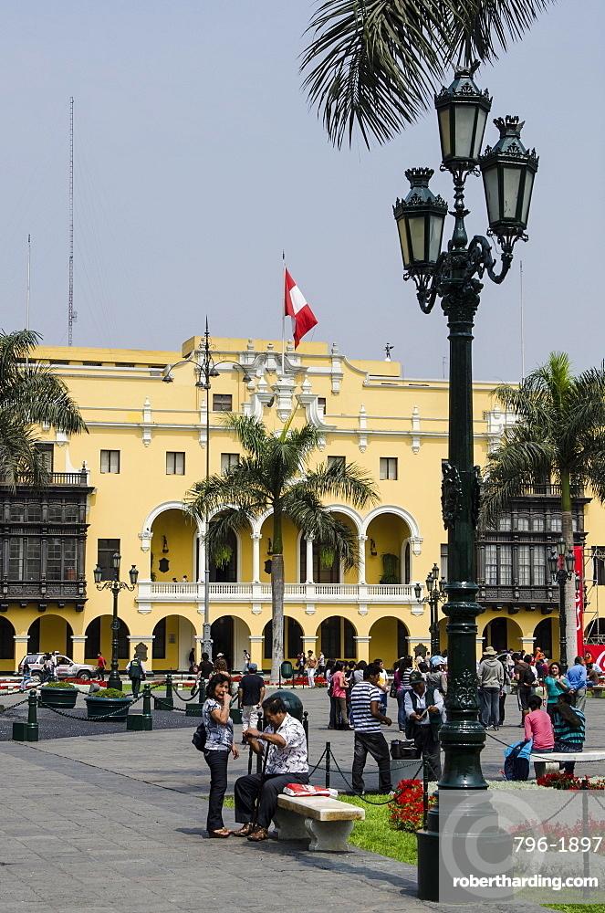 Municipal Palace of Lima, Plaza de Armas, Lima, Peru, South America