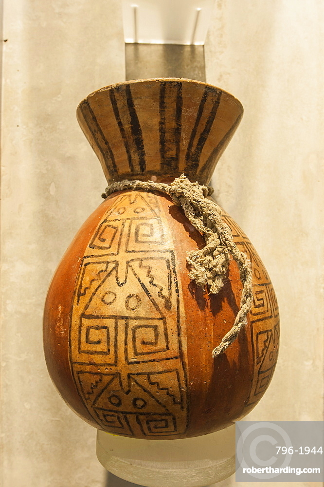 Pottery in the Cao Museum in the El Brujo Archaeological Complex near Trujillo, Peru, South America