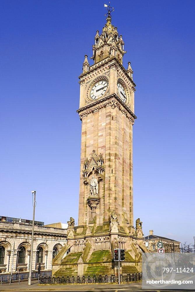 Ireland, North, Belfast, The Albert Memorial Clock Tower in Queen's Square constructed 1865-1870 as a memorial to Queen Victoria's consort Prince Albert.