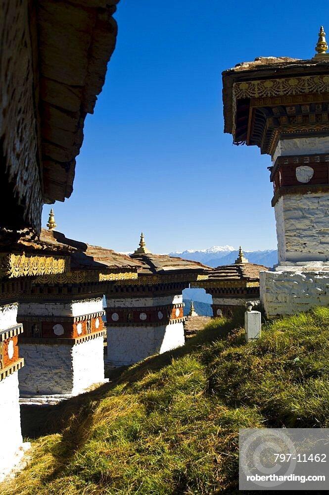 Bhutan, Dochu La, Chortens to commemorate victory of the 4th King in battle near Thimphu.