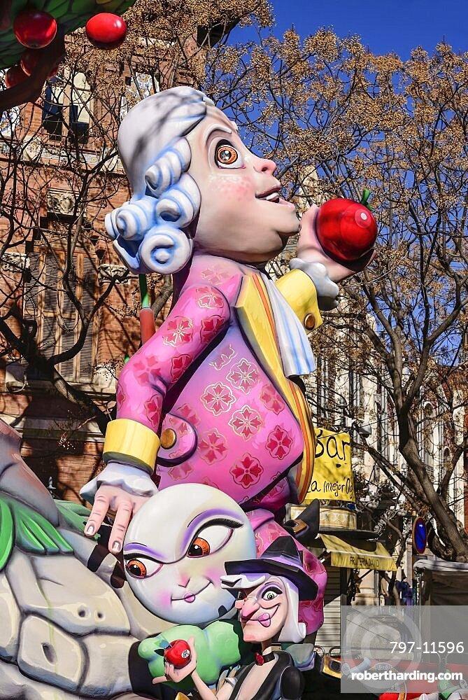 Spain, Valencia Province, Valencia, Papier Mache figure in the street during Las Fallas festival.