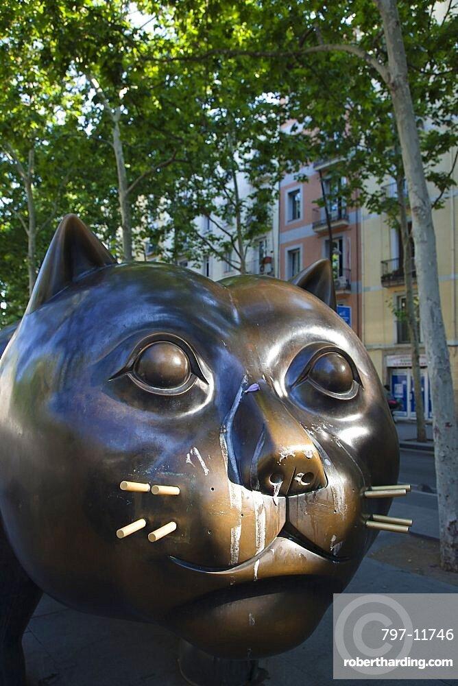 Spain, Catalonia, Barcelona, Rambla del Raval, El Gat bronze statue.