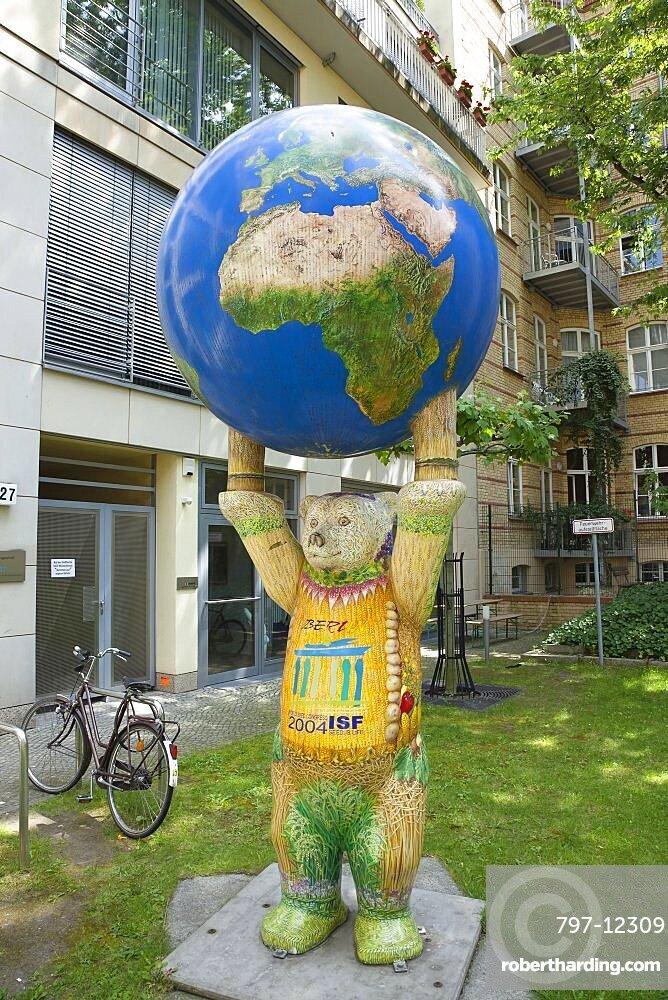 Germany, Berlin, Mitte, Life size fibreglass Buddy bear sculpture.
