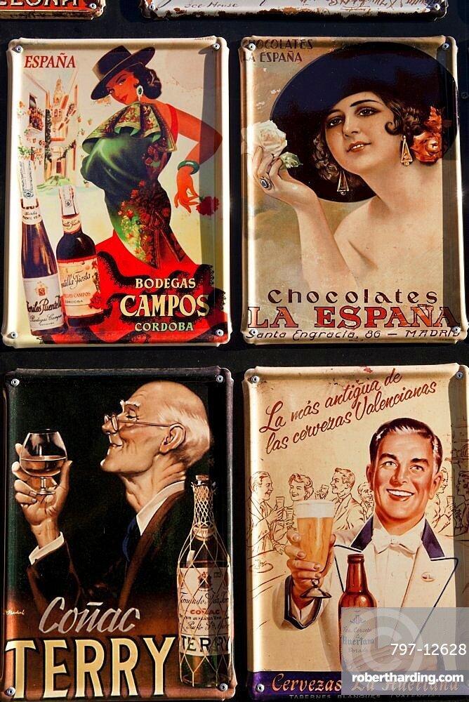 Spain, Madrid, Souvenir enamel plaques.