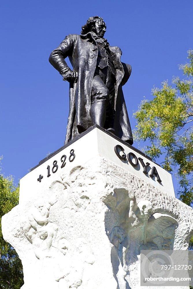 Spain, Madrid, Statue of Goya outside the Prado Museum.