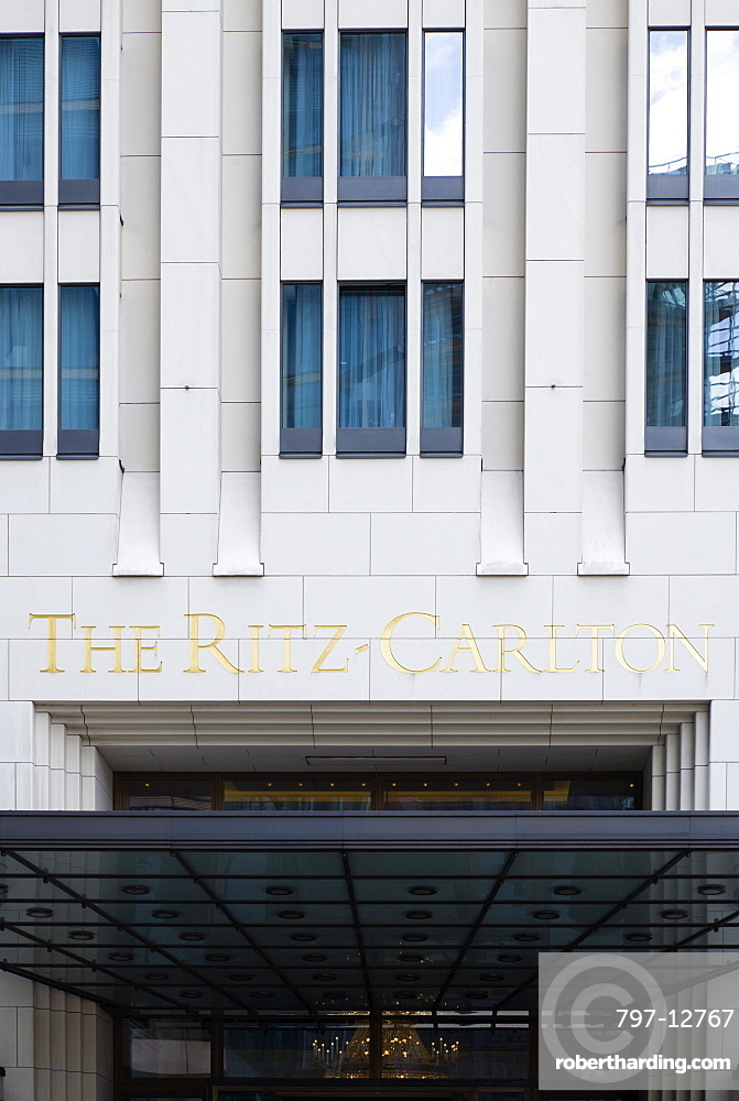 Germany, Berlin, Mitte, The Ritz Carlton Hotel entrance in Potsdamer Platz.