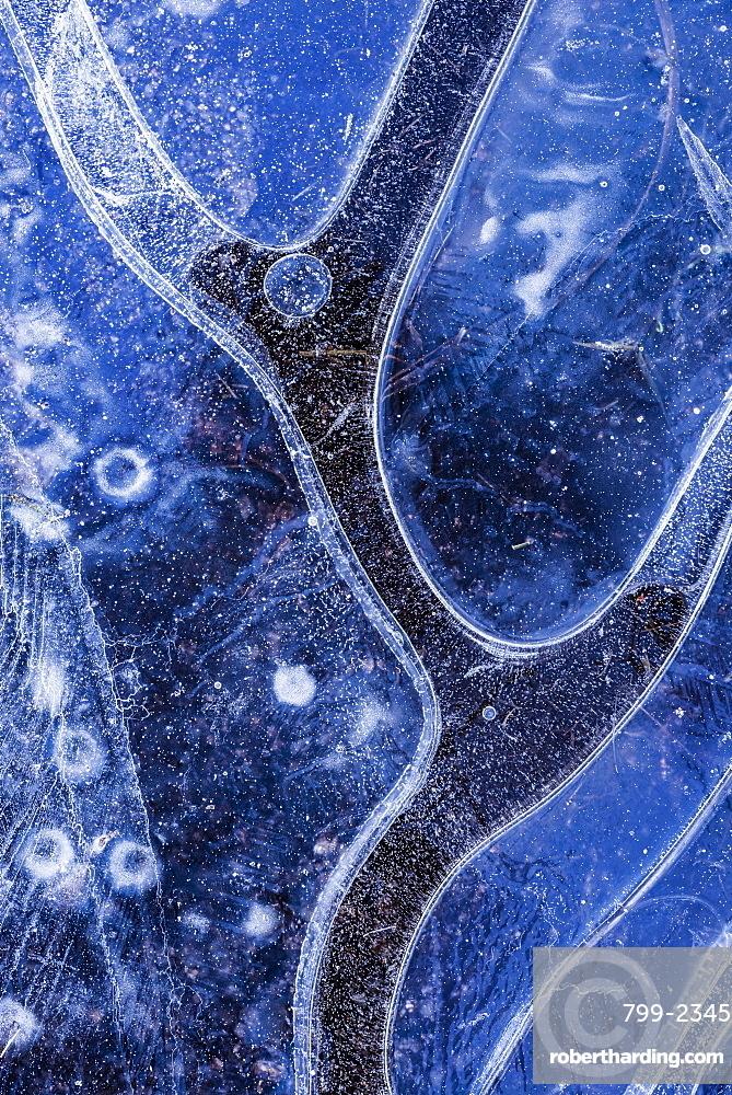 Ice pattern in frozen pond, Dartmoor, Devon, England, United Kingdom, Europe