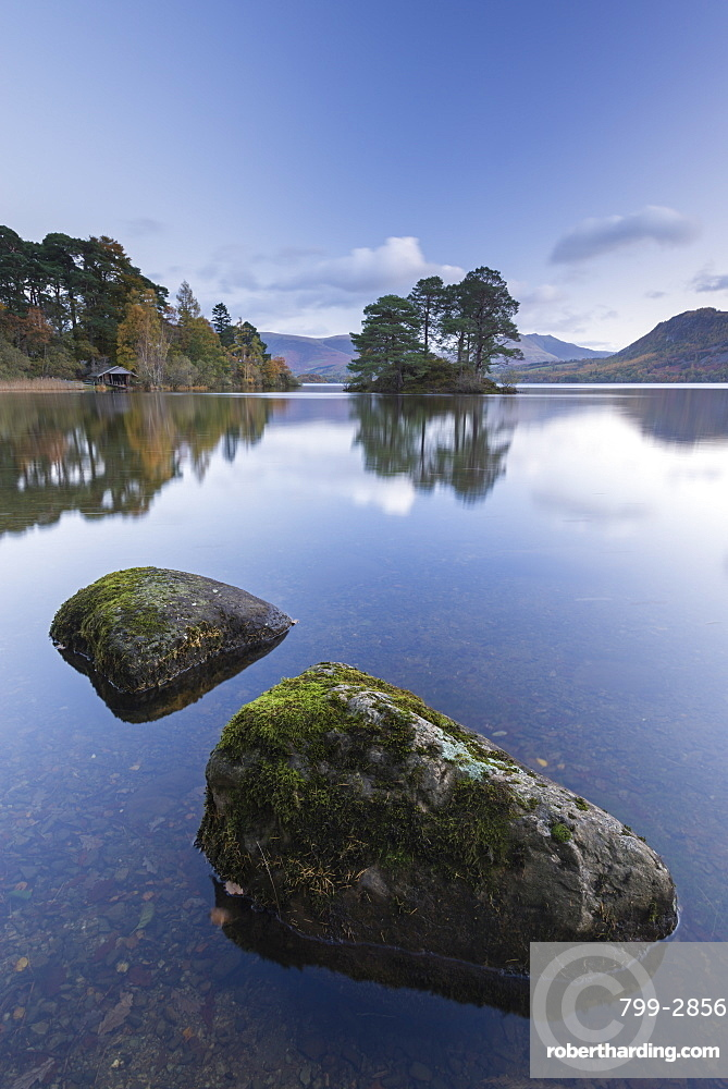 Tranquil Derwent Water at dawn, Lake District National Park, Cumbria, England, United Kingdom, Europe