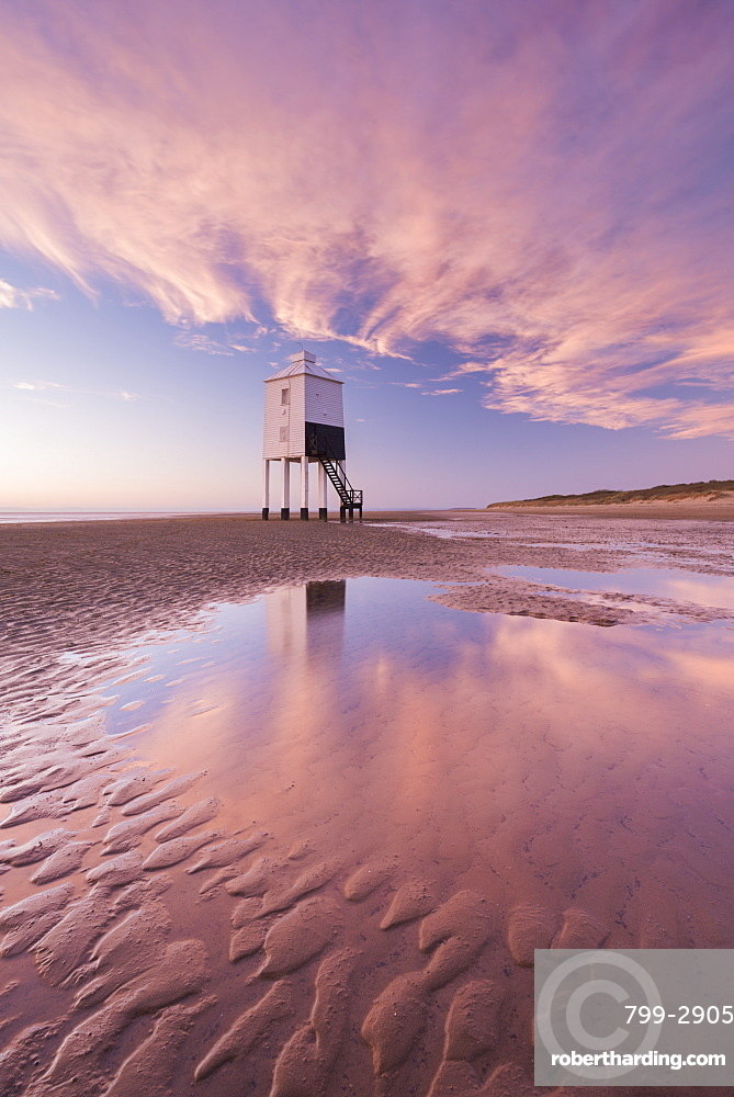 Wooden lighthouse and reflections on Burnham Beach at low tide in winter, Burnham on Sea, Somerset, England, United Kingdom, Europe