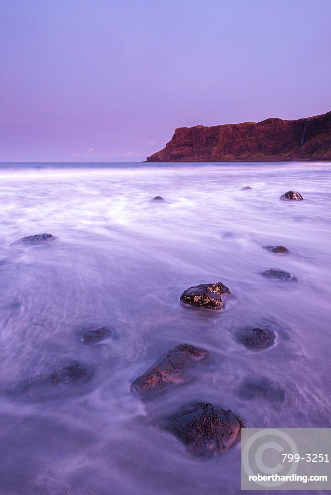 Talisker Bay at sunrise, Isle of Skye, Inner Hebrides, Scotland, United Kingdom, Europe
