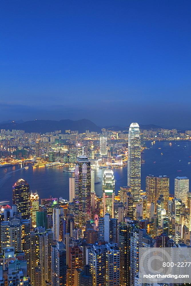View of Kowloon and Hong Kong Island from Victoria Peak at dusk, Hong Kong, China, Asia